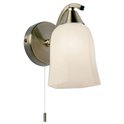 Alonso Wall Lamp, Antique Brass/White Glass 96971-WBAB